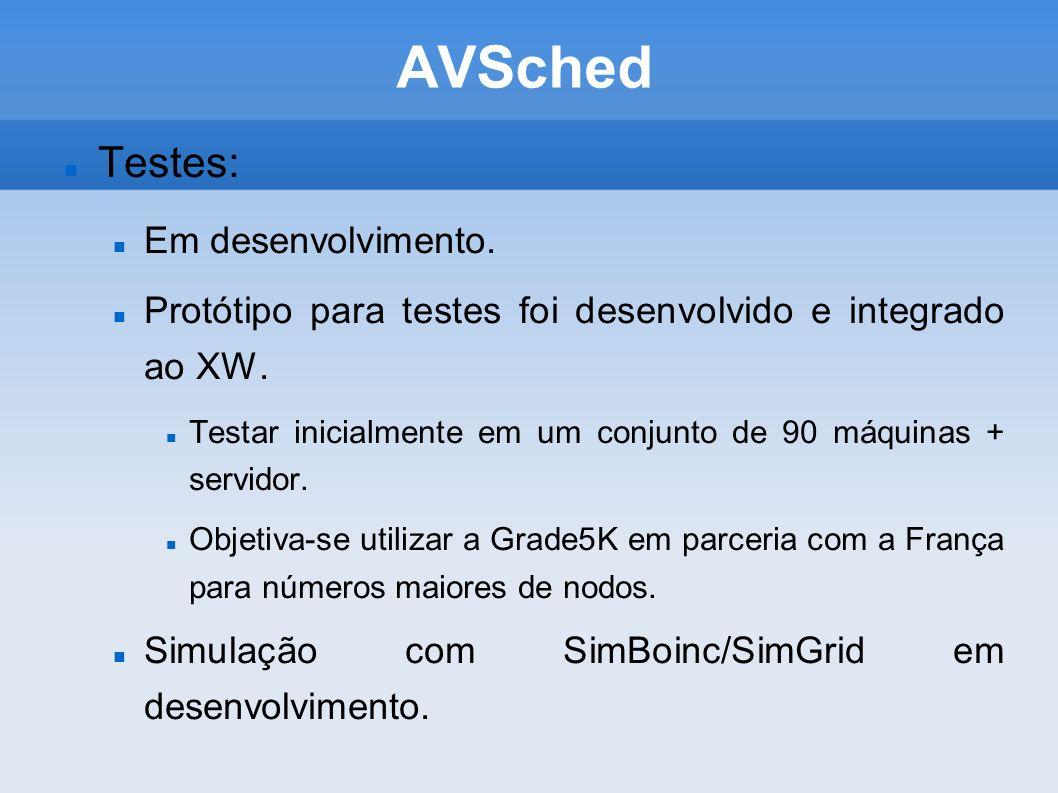 AVSched Testes: Em desenvolvimento. Protótipo para testes foi desenvolvido e integrado ao XW.