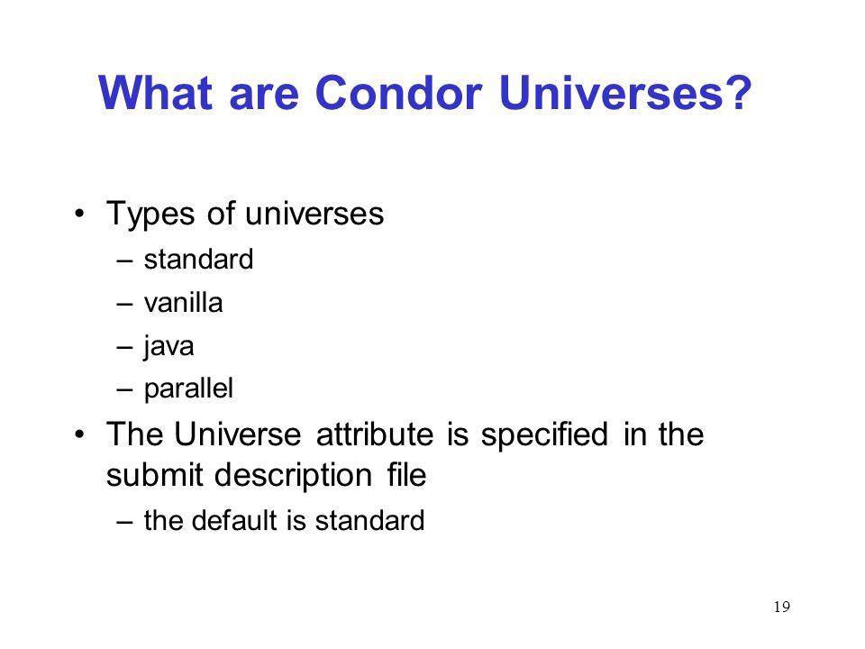 19 What are Condor Universes.