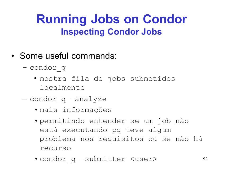 52 Running Jobs on Condor Inspecting Condor Jobs Some useful commands: –condor_q mostra fila de jobs submetidos localmente – condor_q -analyze mais in