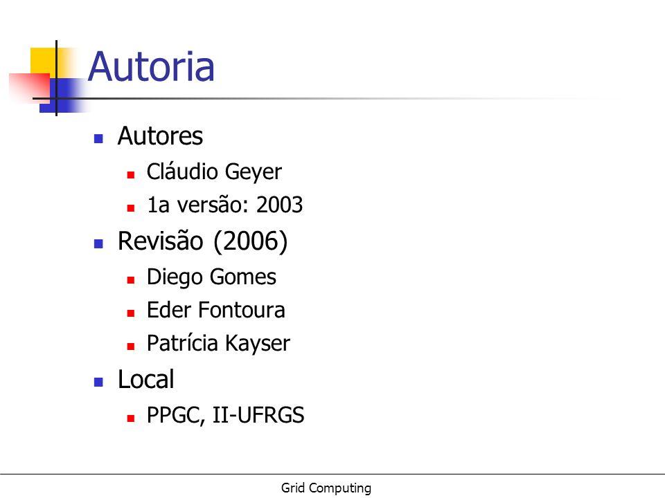 Grid Computing Autoria Autores Cláudio Geyer 1a versão: 2003 Revisão (2006) Diego Gomes Eder Fontoura Patrícia Kayser Local PPGC, II-UFRGS