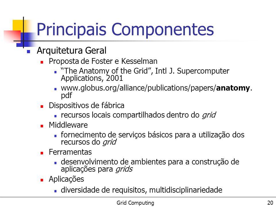 Grid Computing 20 Principais Componentes Arquitetura Geral Proposta de Foster e Kesselman The Anatomy of the Grid, Intl J. Supercomputer Applications,