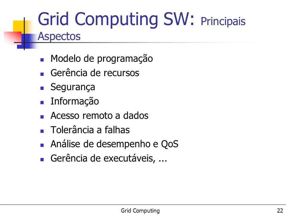 Grid Computing 22 Grid Computing SW: Principais Aspectos Modelo de programação Gerência de recursos Segurança Informação Acesso remoto a dados Tolerân
