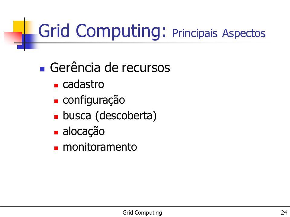Grid Computing 24 Gerência de recursos cadastro configuração busca (descoberta) alocação monitoramento Grid Computing: Principais Aspectos