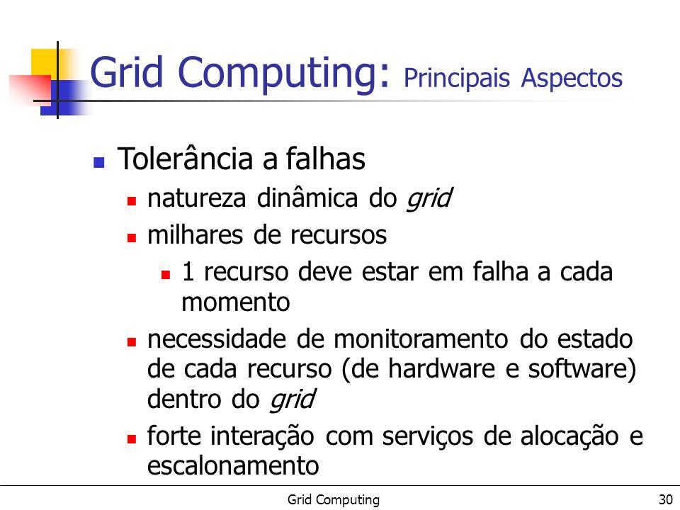 Grid Computing 30 Tolerância a falhas natureza dinâmica do grid milhares de recursos 1 recurso deve estar em falha a cada momento necessidade de monit
