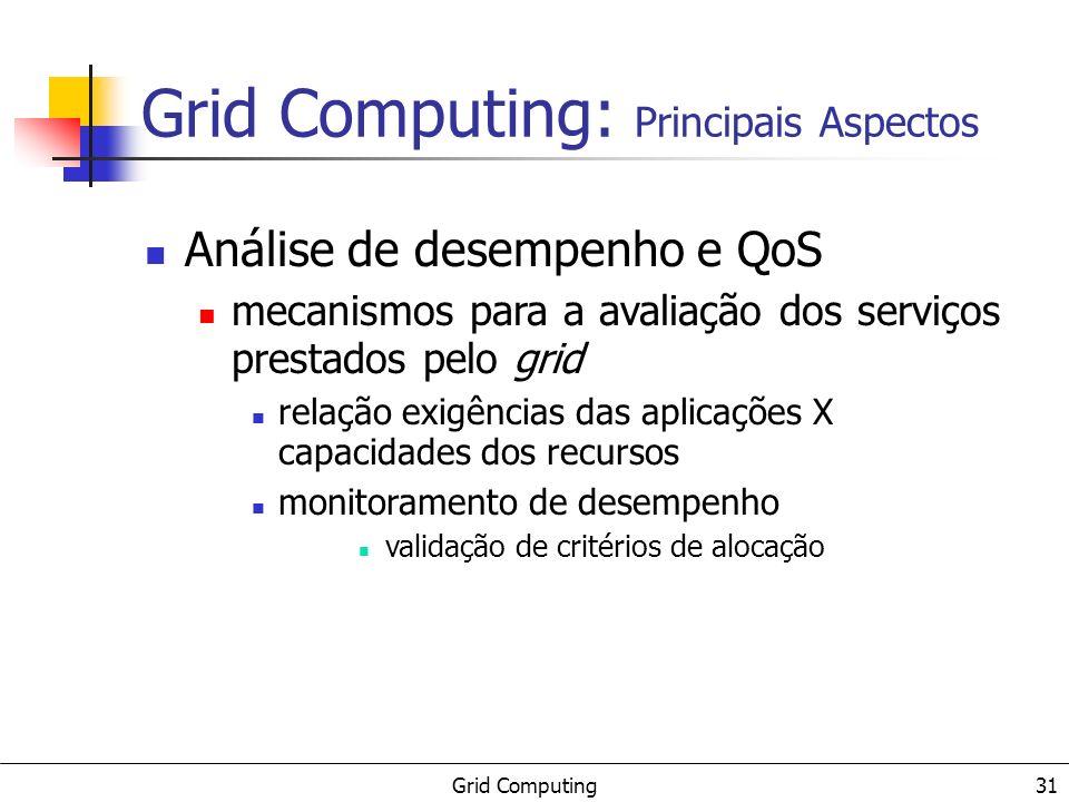 Grid Computing 31 Análise de desempenho e QoS mecanismos para a avaliação dos serviços prestados pelo grid relação exigências das aplicações X capacid