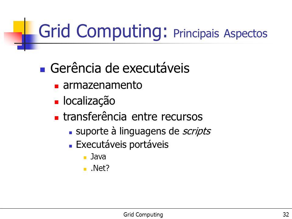 Grid Computing 32 Gerência de executáveis armazenamento localização transferência entre recursos suporte à linguagens de scripts Executáveis portáveis