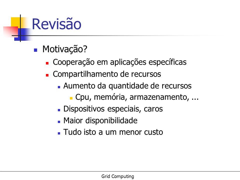 Grid Computing Revisão Motivação? Cooperação em aplicações específicas Compartilhamento de recursos Aumento da quantidade de recursos Cpu, memória, ar