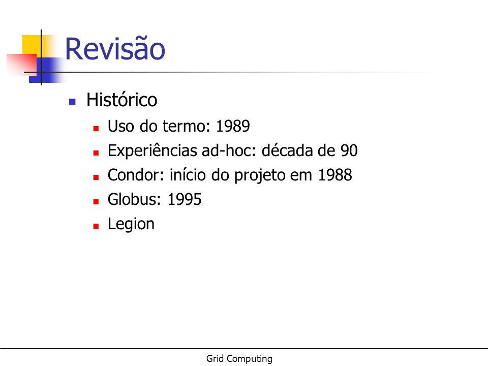 Grid Computing Revisão Histórico Uso do termo: 1989 Experiências ad-hoc: década de 90 Condor: início do projeto em 1988 Globus: 1995 Legion