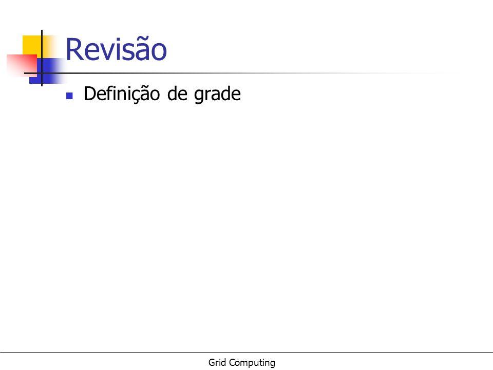 Grid Computing Revisão Definição de grade