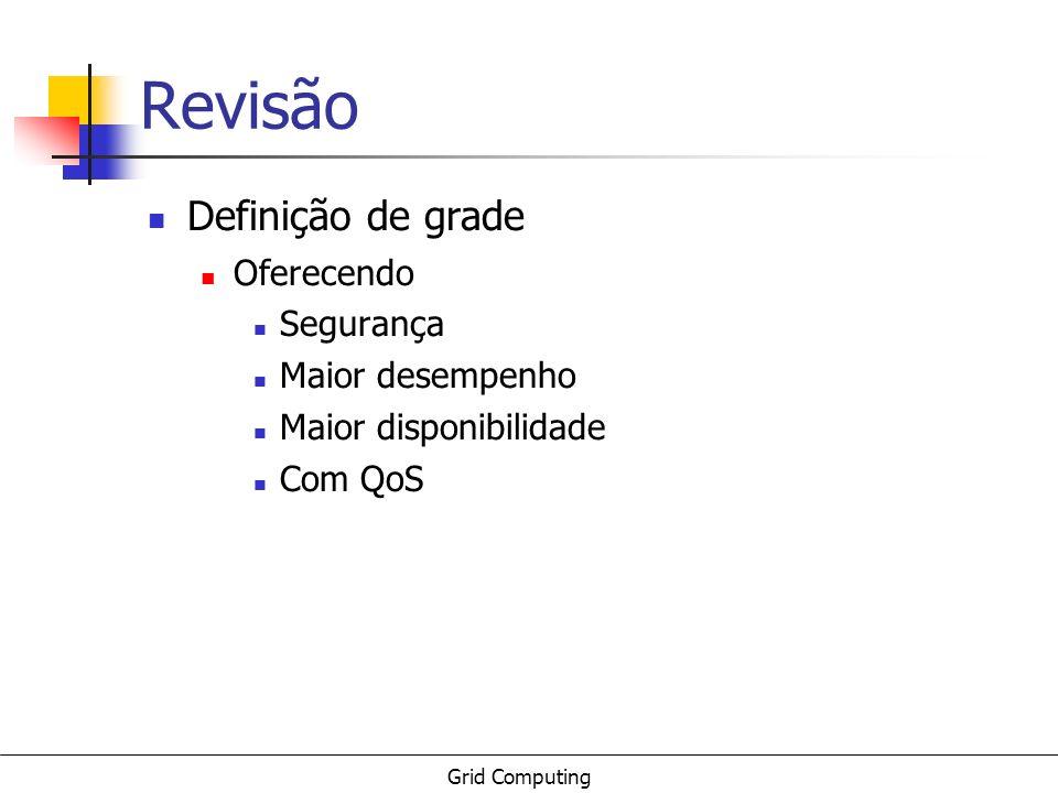 Grid Computing Revisão Definição de grade Oferecendo Segurança Maior desempenho Maior disponibilidade Com QoS