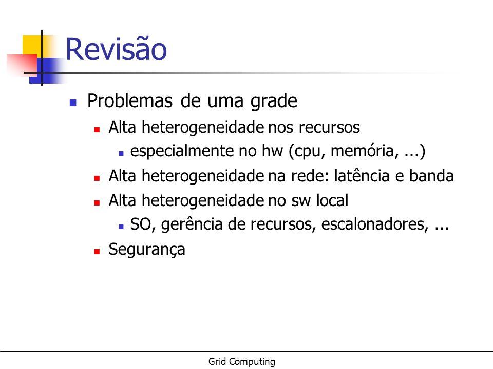 Grid Computing Revisão Problemas de uma grade Alta heterogeneidade nos recursos especialmente no hw (cpu, memória,...) Alta heterogeneidade na rede: l