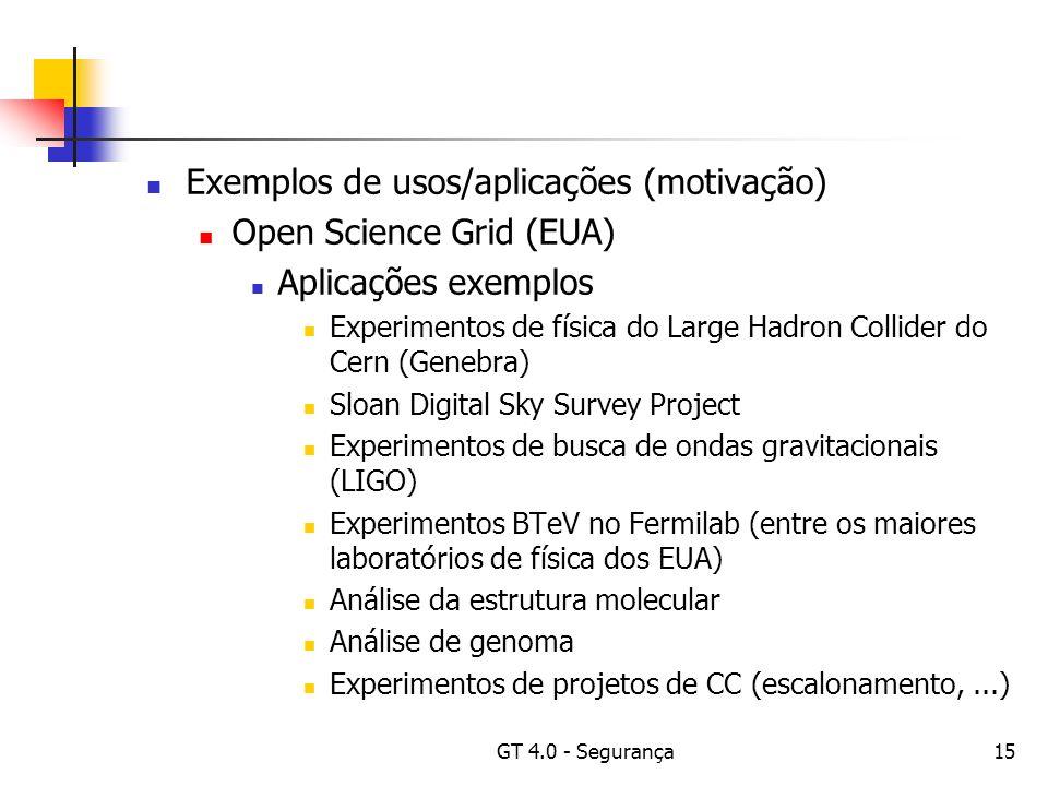 GT 4.0 - Segurança15 Exemplos de usos/aplicações (motivação) Open Science Grid (EUA) Aplicações exemplos Experimentos de física do Large Hadron Collider do Cern (Genebra) Sloan Digital Sky Survey Project Experimentos de busca de ondas gravitacionais (LIGO) Experimentos BTeV no Fermilab (entre os maiores laboratórios de física dos EUA) Análise da estrutura molecular Análise de genoma Experimentos de projetos de CC (escalonamento,...)