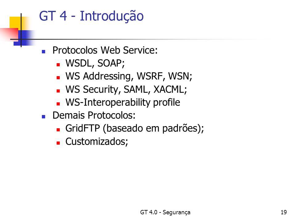 GT 4.0 - Segurança19 GT 4 - Introdução Protocolos Web Service: WSDL, SOAP; WS Addressing, WSRF, WSN; WS Security, SAML, XACML; WS-Interoperability profile Demais Protocolos: GridFTP (baseado em padrões); Customizados;