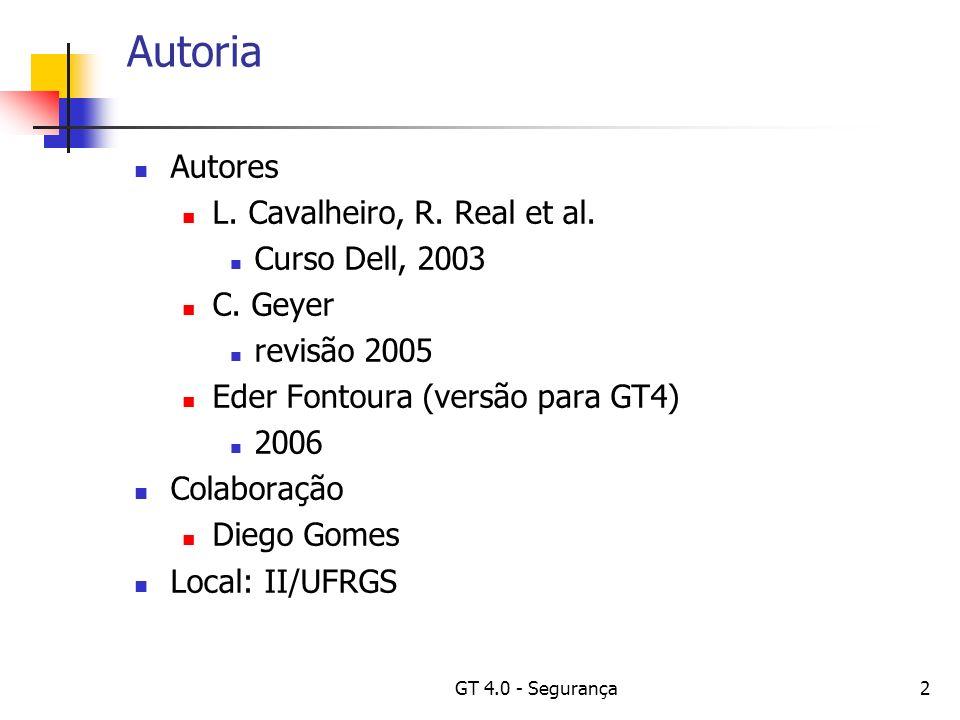 GT 4.0 - Segurança2 Autoria Autores L. Cavalheiro, R.