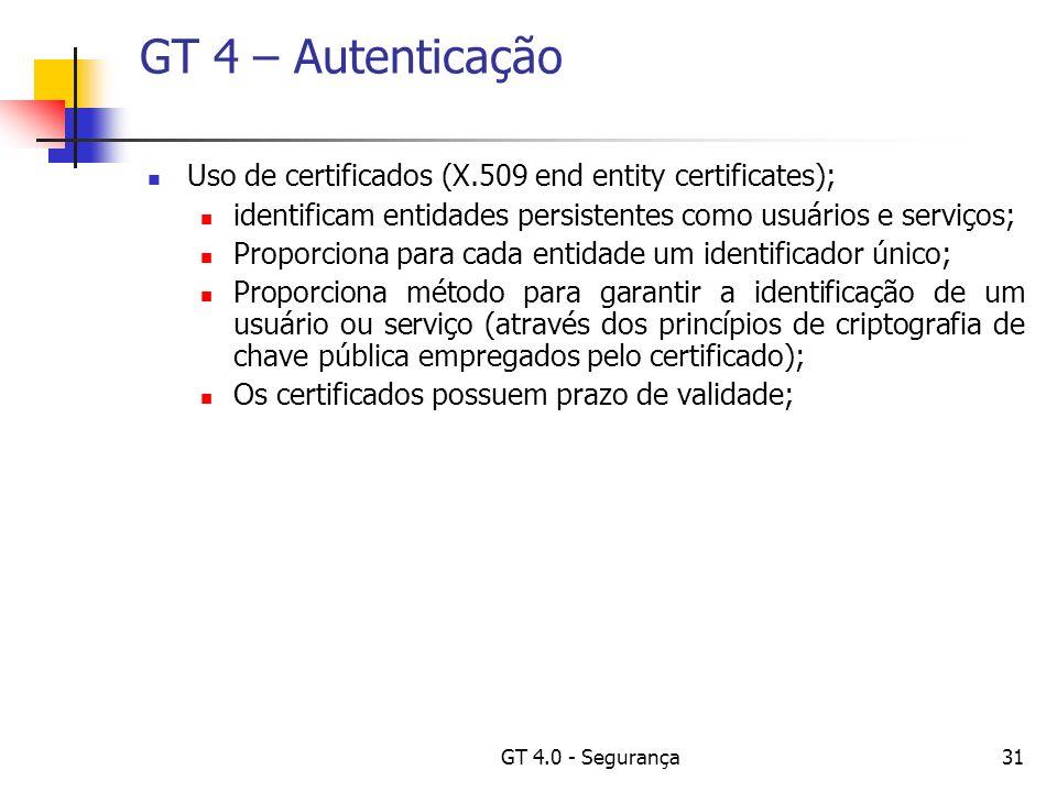 GT 4.0 - Segurança31 GT 4 – Autenticação Uso de certificados (X.509 end entity certificates); identificam entidades persistentes como usuários e serviços; Proporciona para cada entidade um identificador único; Proporciona método para garantir a identificação de um usuário ou serviço (através dos princípios de criptografia de chave pública empregados pelo certificado); Os certificados possuem prazo de validade;