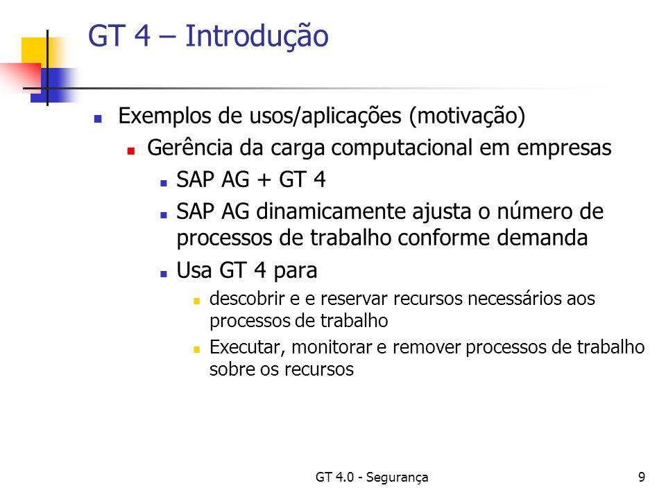 GT 4.0 - Segurança40 GT 4 – Questões de utilização Para todas as questões apresentadas, para a execução dos comandos o usuário deverá estar conectado a uma máquina que tenha o Globus instalado; Questão: Se sou um usuário novo em uma grade, devo solicitar um certificado de usuário.