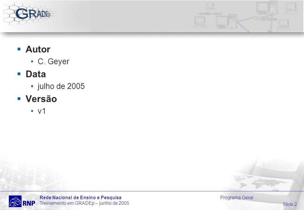 Slide 3 Rede Nacional de Ensino e Pesquisa Programa Geral Treinamento em GRADEp – junho de 2005 Equipe Geral Equipe responsável pela preparação do treinamento Dr.