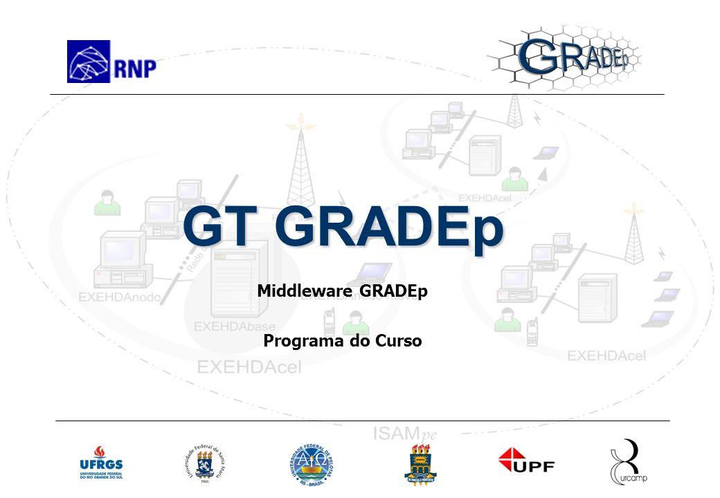 Slide 9 Rede Nacional de Ensino e Pesquisa Programa Geral Treinamento em GRADEp – junho de 2005 GT GRADEp Middleware GRADEp Programa do Curso