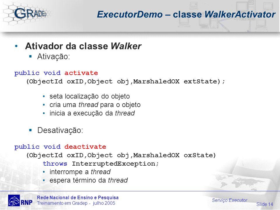 Slide 14 Rede Nacional de Ensino e Pesquisa Treinamento em Gradep - julho 2005 Serviço Executor ExecutorDemo – classe WalkerActivator Ativador da classe Walker Ativação: public void activate (ObjectId oxID,Object obj,MarshaledOX extState); seta localização do objeto cria uma thread para o objeto inicia a execução da thread Desativação: public void deactivate (ObjectId oxID,Object obj,MarshaledOX oxState) throws InterruptedException; interrompe a thread espera término da thread