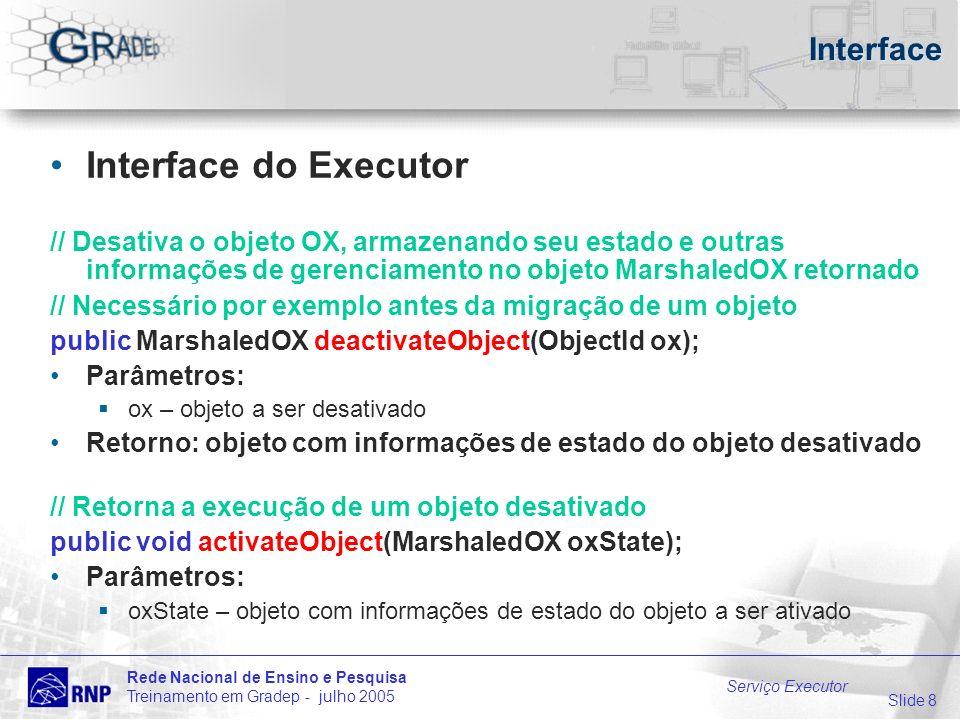 Slide 8 Rede Nacional de Ensino e Pesquisa Treinamento em Gradep - julho 2005 Serviço Executor Interface Interface do Executor // Desativa o objeto OX, armazenando seu estado e outras informações de gerenciamento no objeto MarshaledOX retornado // Necessário por exemplo antes da migração de um objeto public MarshaledOX deactivateObject(ObjectId ox); Parâmetros: ox – objeto a ser desativado Retorno: objeto com informações de estado do objeto desativado // Retorna a execução de um objeto desativado public void activateObject(MarshaledOX oxState); Parâmetros: oxState – objeto com informações de estado do objeto a ser ativado