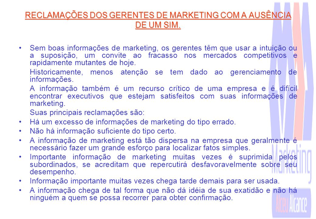 Papel do dirigente do Marketing previsto no SIM
