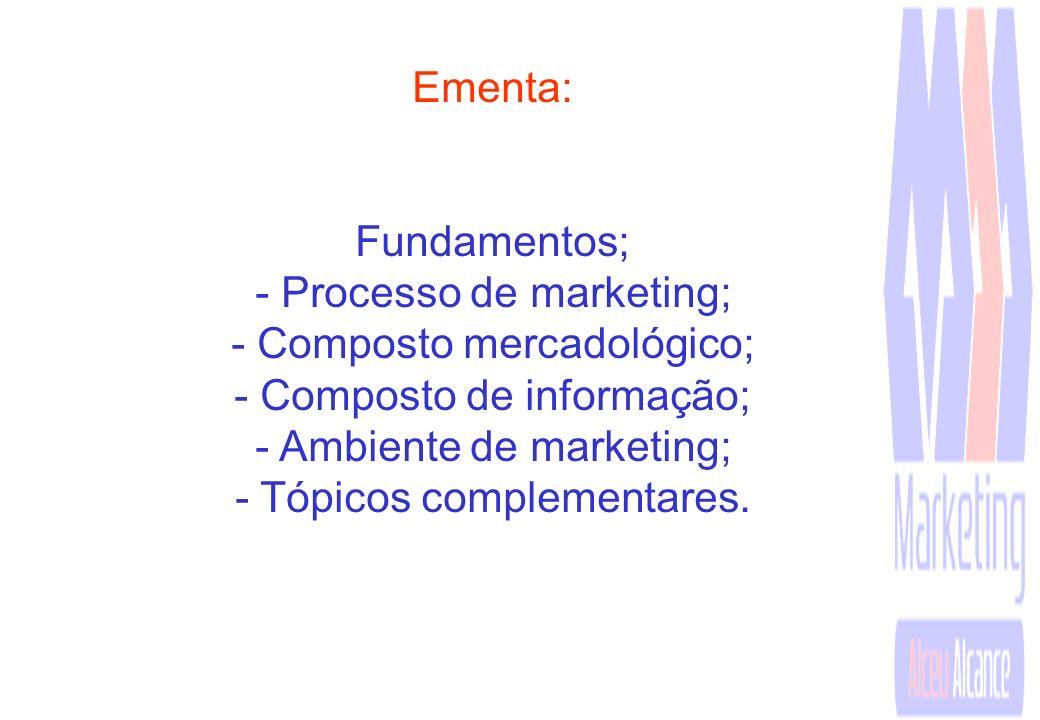 Ementa: Fundamentos; - Processo de marketing; - Composto mercadológico; - Composto de informação; - Ambiente de marketing; - Tópicos complementares.