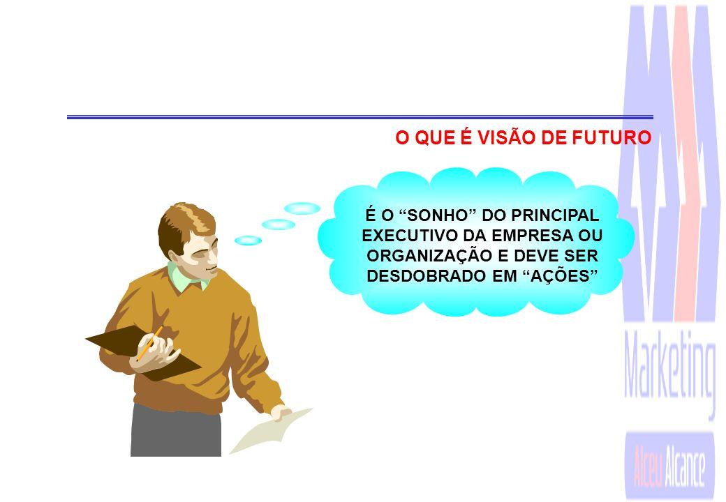 O QUE É VISÃO DE FUTURO É O SONHO DO PRINCIPAL EXECUTIVO DA EMPRESA OU ORGANIZAÇÃO E DEVE SER DESDOBRADO EM AÇÕES