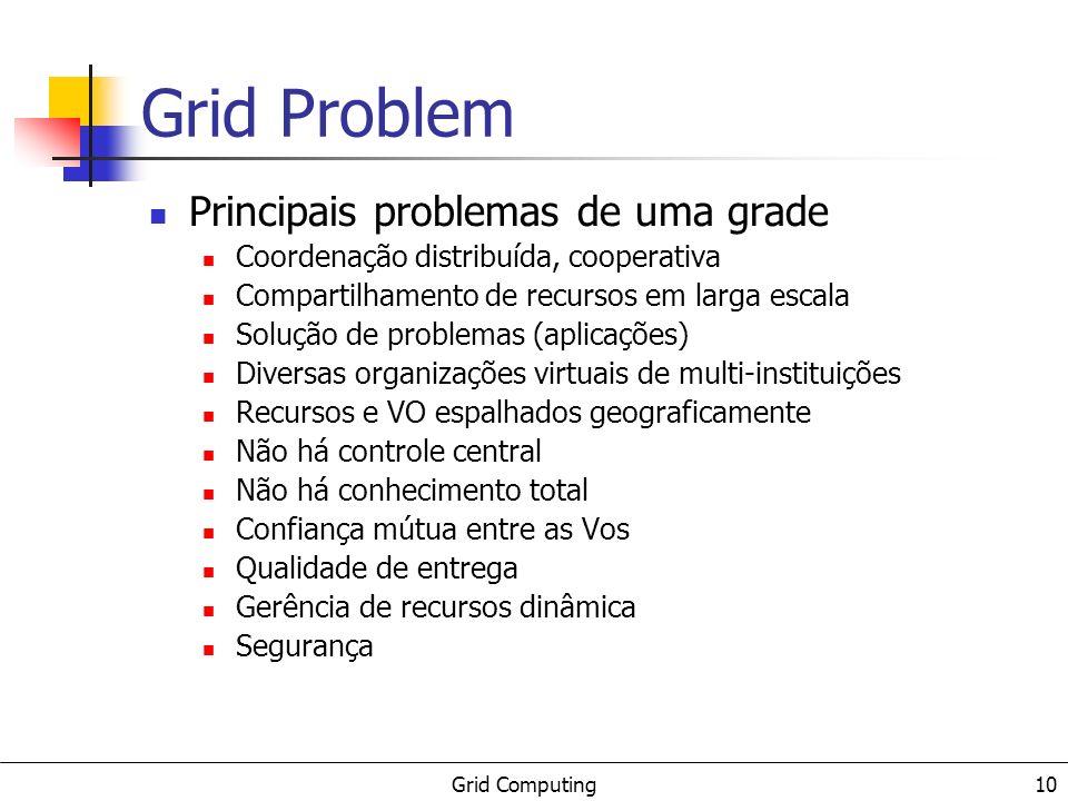 Grid Computing 10 Grid Problem Principais problemas de uma grade Coordenação distribuída, cooperativa Compartilhamento de recursos em larga escala Sol