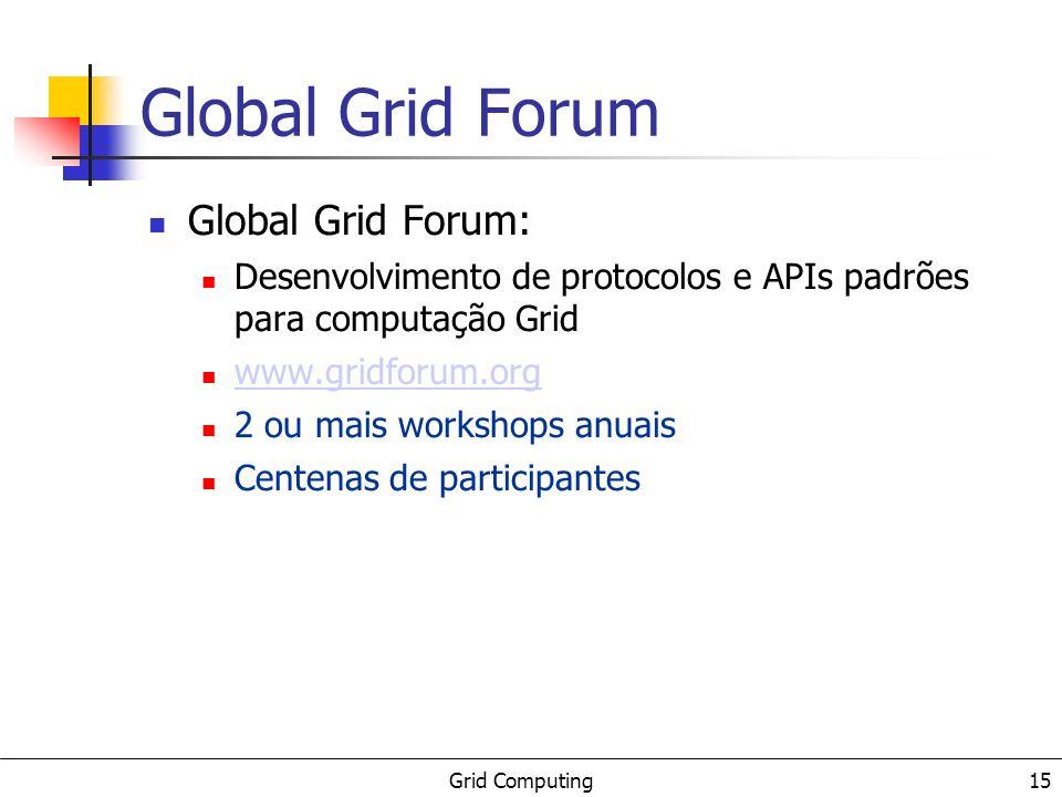 Grid Computing 15 Global Grid Forum Global Grid Forum: Desenvolvimento de protocolos e APIs padrões para computação Grid www.gridforum.org 2 ou mais w