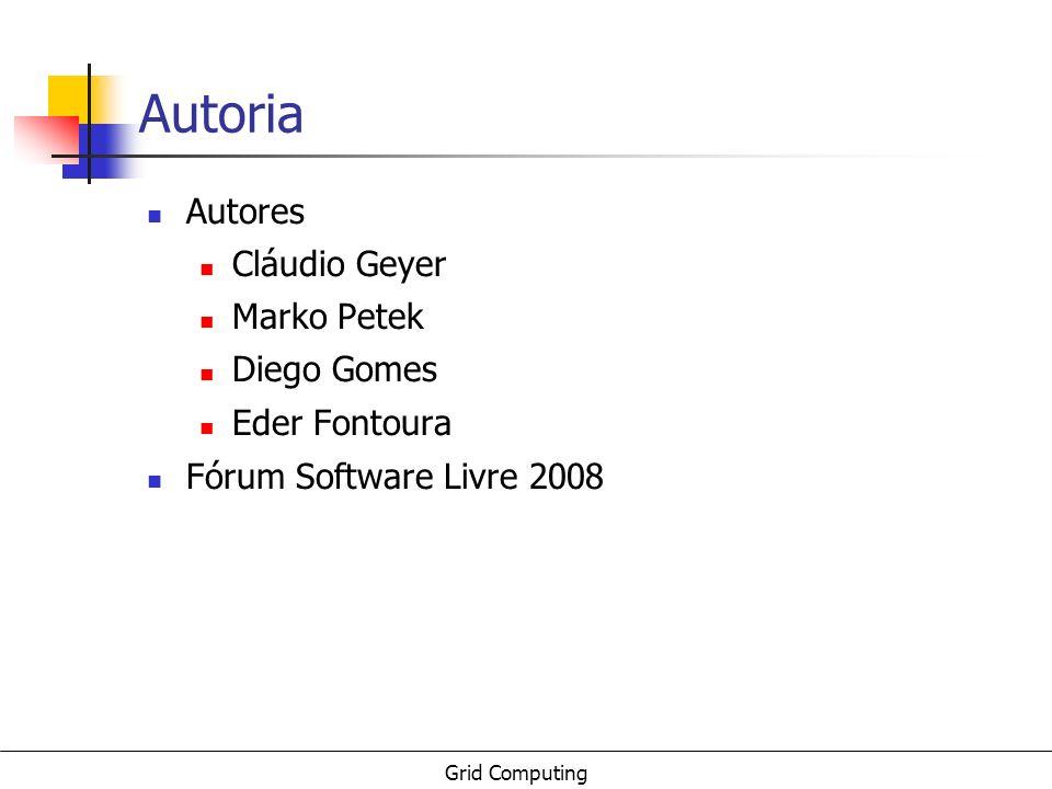 Grid Computing Autoria Autores Cláudio Geyer Marko Petek Diego Gomes Eder Fontoura Fórum Software Livre 2008