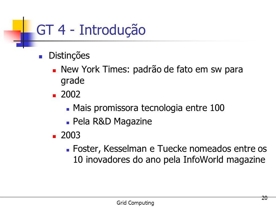 Grid Computing 20 GT 4 - Introdução Distinções New York Times: padrão de fato em sw para grade 2002 Mais promissora tecnologia entre 100 Pela R&D Maga
