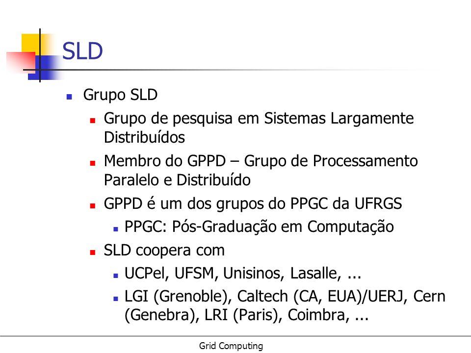 Grid Computing 4 Sumário Conceitos de Computação em Grade Caso Globus Grade UFRGS Experimental Grade HEP Projetos SLD Gerência de dados Escalonamento Global Computing Outros