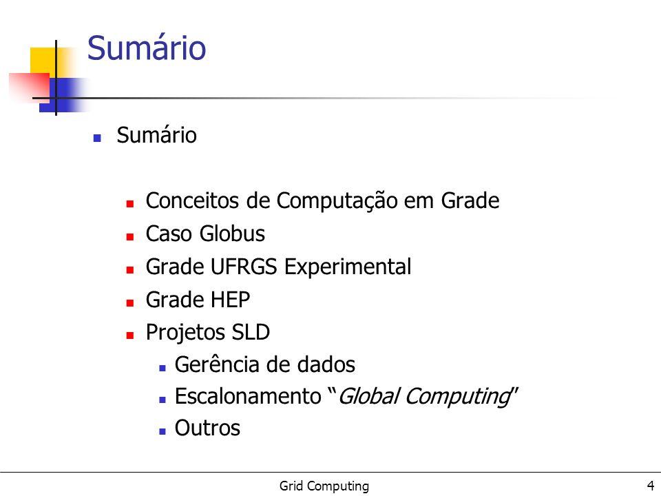 Grid Computing 4 Sumário Conceitos de Computação em Grade Caso Globus Grade UFRGS Experimental Grade HEP Projetos SLD Gerência de dados Escalonamento