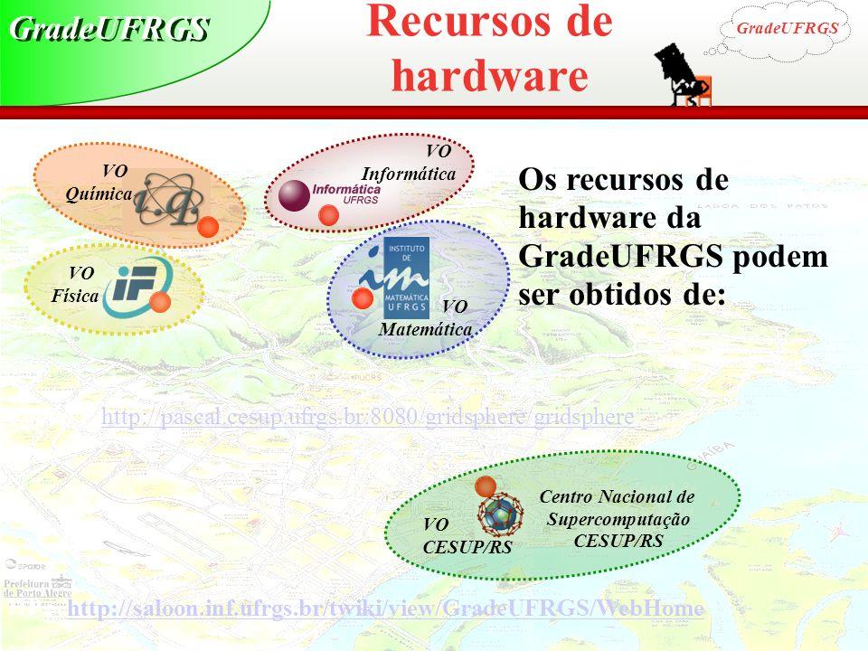 Grid Computing Centro Nacional de Supercomputação CESUP/RS VO Física VO Química VO Matemática VO Informática VO CESUP/RS Os recursos de hardware da Gr