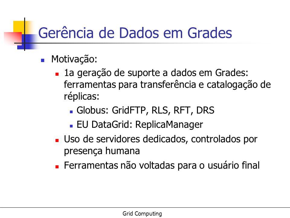 Grid Computing Gerência de Dados em Grades Motivação: 1a geração de suporte a dados em Grades: ferramentas para transferência e catalogação de réplica