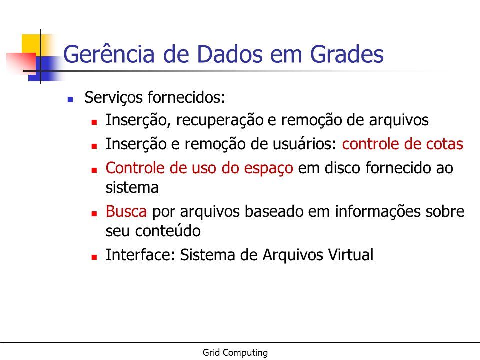 Grid Computing Gerência de Dados em Grades Serviços fornecidos: Inserção, recuperação e remoção de arquivos Inserção e remoção de usuários: controle d