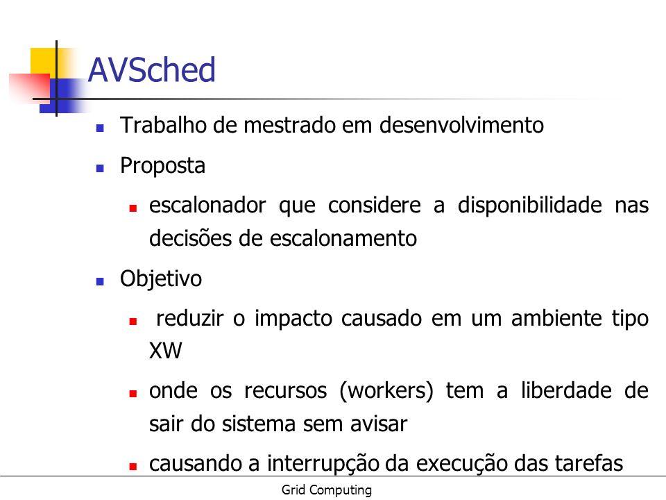 Grid Computing AVSched Trabalho de mestrado em desenvolvimento Proposta escalonador que considere a disponibilidade nas decisões de escalonamento Obje