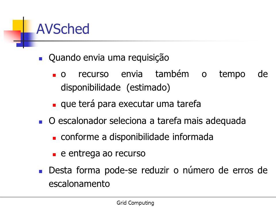 Grid Computing AVSched Quando envia uma requisição o recurso envia também o tempo de disponibilidade (estimado) que terá para executar uma tarefa O es