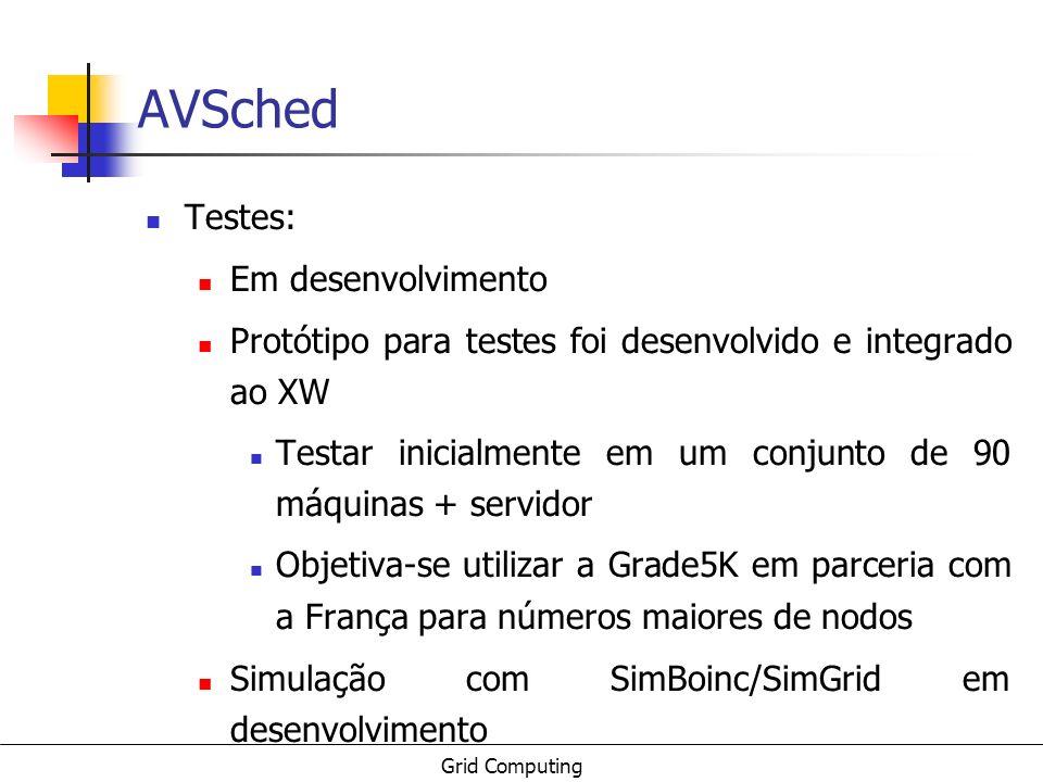 Grid Computing AVSched Testes: Em desenvolvimento Protótipo para testes foi desenvolvido e integrado ao XW Testar inicialmente em um conjunto de 90 má