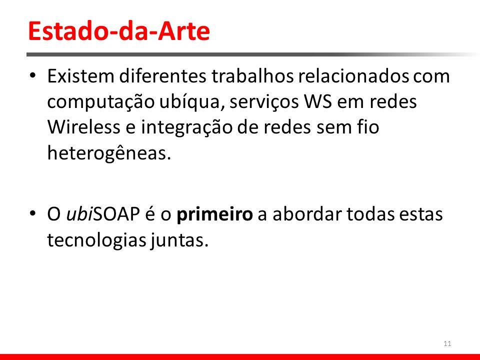 Estado-da-Arte Existem diferentes trabalhos relacionados com computação ubíqua, serviços WS em redes Wireless e integração de redes sem fio heterogêneas.