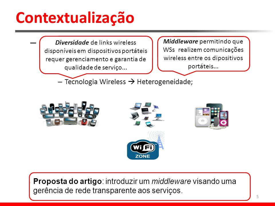 Contextualização – Computação Ubíqua: Redes Ubíquas: – Tecnologia Wireless Heterogeneidade; – Suporte de WS* em redes ubíquas é um desafio.