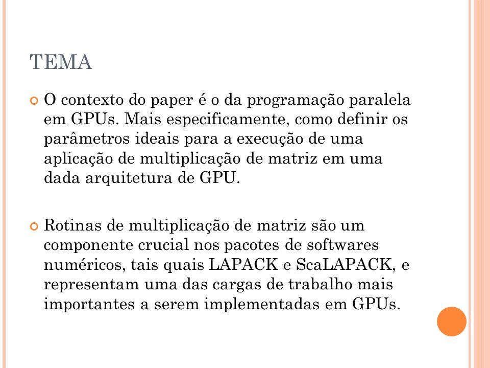 TEMA O contexto do paper é o da programação paralela em GPUs. Mais especificamente, como definir os parâmetros ideais para a execução de uma aplicação