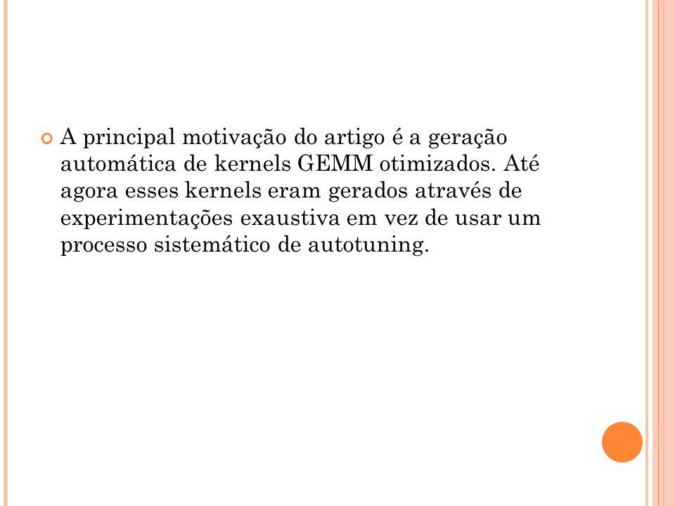 A principal motivação do artigo é a geração automática de kernels GEMM otimizados.
