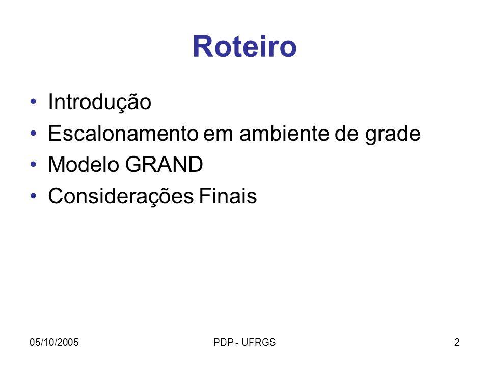 05/10/2005PDP - UFRGS33 Patrícia Kayser Vargas kayser@cos.ufrj.br http://www.cos.ufrj.br/grand