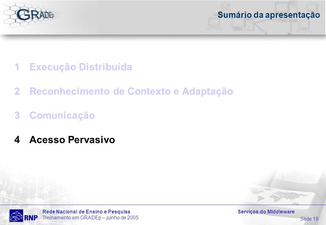 Slide 19 Rede Nacional de Ensino e Pesquisa Serviços do Middleware Treinamento em GRADEp – junho de 2005 Sumário da apresentação 1Execução Distribuída 2Reconhecimento de Contexto e Adaptação 3Comunicação 4Acesso Pervasivo