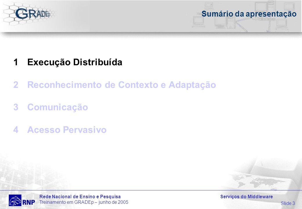 Slide 3 Rede Nacional de Ensino e Pesquisa Serviços do Middleware Treinamento em GRADEp – junho de 2005 Sumário da apresentação 1Execução Distribuída 2Reconhecimento de Contexto e Adaptação 3Comunicação 4Acesso Pervasivo
