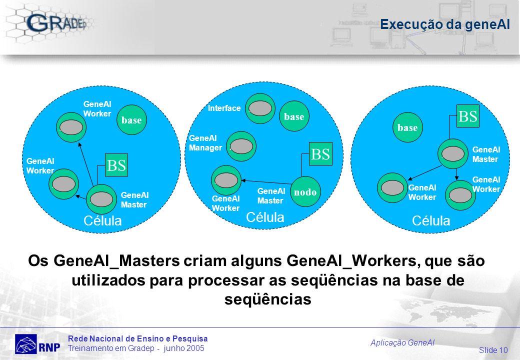 Slide 10 Rede Nacional de Ensino e Pesquisa Treinamento em Gradep - junho 2005 Aplicação GeneAl Célula Execução da geneAl Os GeneAl_Masters criam alguns GeneAl_Workers, que são utilizados para processar as seqüências na base de seqüências BS base nodo base Célula BS Célula base nodo BS GeneAl Manager GeneAl Master nodo GeneAl Worker nodo Interface