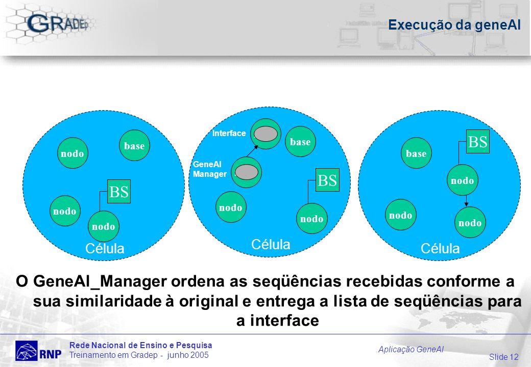 Slide 12 Rede Nacional de Ensino e Pesquisa Treinamento em Gradep - junho 2005 Aplicação GeneAl Célula Execução da geneAl O GeneAl_Manager ordena as s