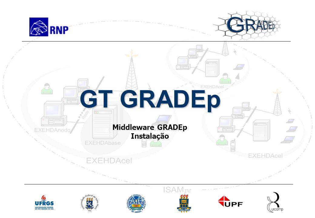 Slide 10 Rede Nacional de Ensino e Pesquisa Instalação do Middleware Treinamento em GRADEp – junho de 2005 GT GRADEp Middleware GRADEp Instalação