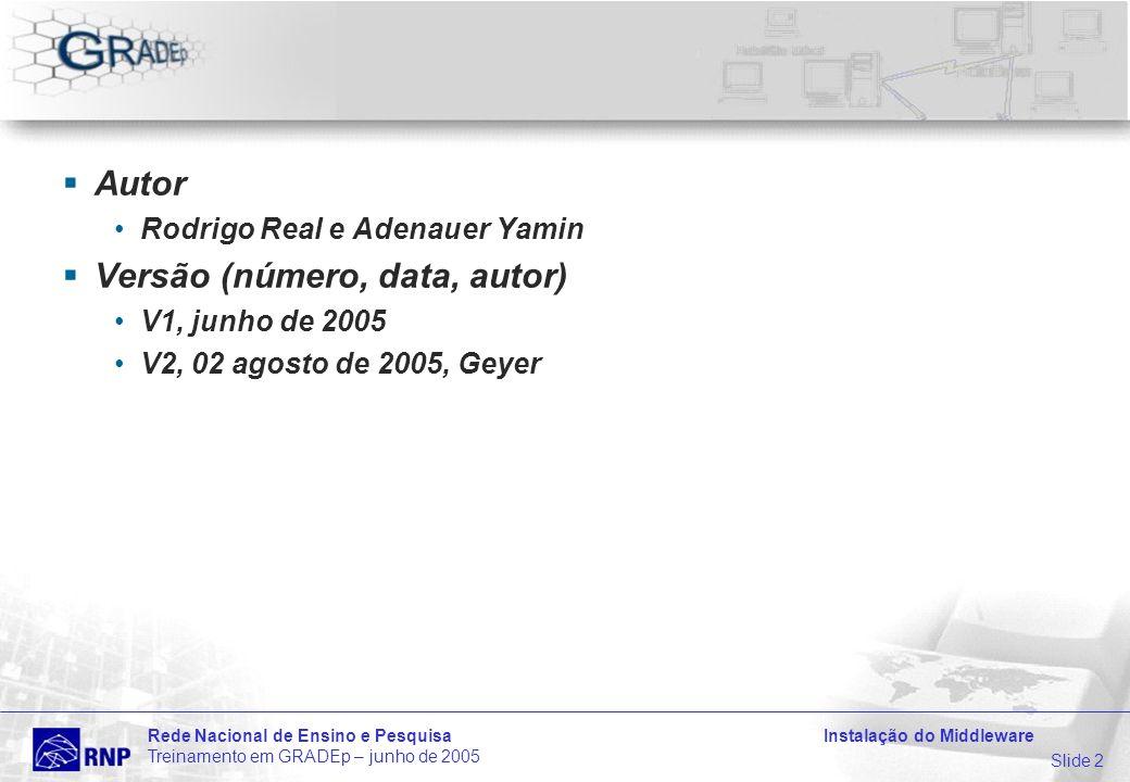 Slide 2 Rede Nacional de Ensino e Pesquisa Instalação do Middleware Treinamento em GRADEp – junho de 2005 Autor Rodrigo Real e Adenauer Yamin Versão (número, data, autor) V1, junho de 2005 V2, 02 agosto de 2005, Geyer